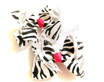 Zebra with Pink Center Knot Hair Bow