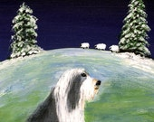 Bearded Collie winter folk art print by Todd Young