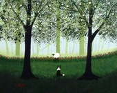 Border Collie Dog Folk Large art PRINT by Todd Young painting Green Forest Mist