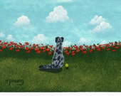 Catahoula Leopard Dog art Print Todd Young painting Red Poppies