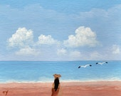 Watching Seagulls Airedale Welsh Terrier dog print by Todd Young