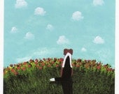 Beagle folk art PRINT of Todd Young painting Summer Clouds