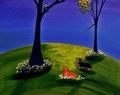 Dachshund Dog Art Print Todd Young painting HERE KITTY KITTY