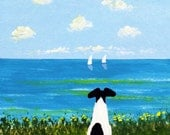 Smooth Fox Terrier dog art PRINT of Todd Young painting BEACH
