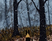 German Shepherd Dog LARGE Folk art print by Todd Young FIRST SNOW