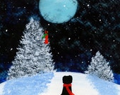 Rottweiler Dog Snow modern Folk art print by Todd Young WINTER SONG