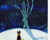 German Shepherd Dog Folk Art Print by Todd Young Bare Snowy Tree