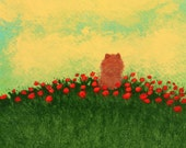 Pomeranian Dog Folk Art PRINT Todd Young painting Summer Poppies
