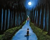 German Shepherd Dog LARGE Folk art PRINT of Todd Young painting Safe Passage