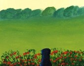 Black Lab dog Folk Art PRINT by Todd Young painting French Poppies