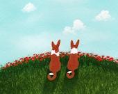 Basenji Dog art PRINT of Todd Young painting Summer Poppies
