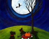 Spooky Night Scotty LARGE Folk Art PRINT by Todd Young