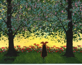 Airedale Welsh Terrier Dog Folk art PRINT by Todd Young Forest Flowers