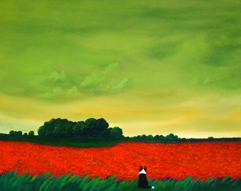 Tulip Field Border Collie Print by Todd Young