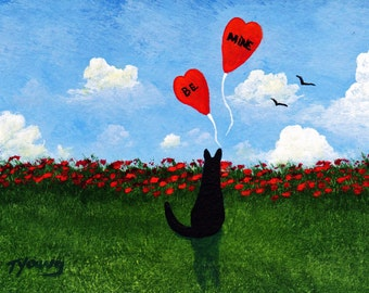 Black Cat BE MINE Valentine Limited Edition reproduction Print of Todd Young painting