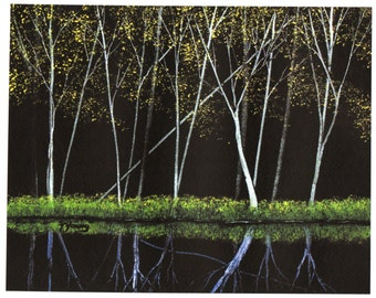 Tree Forest SPRING LEAVES limited edition reproduction art print of Todd Young painting