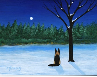 German Shepherd Dog WINTER'S SILENCE limited edition reproduction art print of Todd Young painting