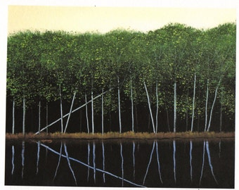 Spring forest RIVER BANK Large Folk art print of Todd Young painting