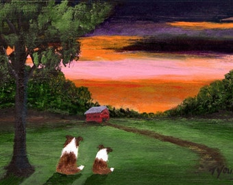 Dawn Sheltie Dog print by Todd Young