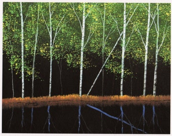 Spring Birch forest STILL WATERS limited edition reproduction art print of Todd Young painting