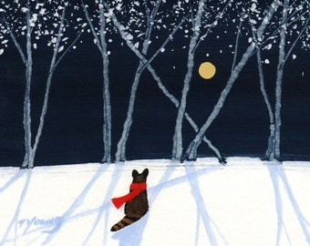 Raccoon Winter Snow folk Art Print Todd Young New Snow