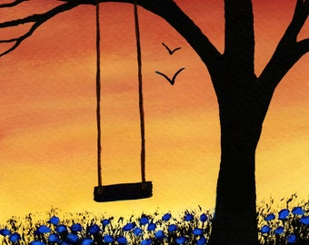 Tree Swing Modern Folk Art Print of Todd Young painting Last Days of Summer