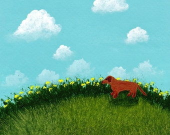Brown Dachshund Dog Art PRINT Todd Young painting SUMMER HILL