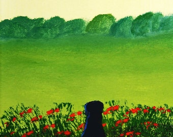 Rottweiler dog FRENCH POPPIES art print by Todd Young painting