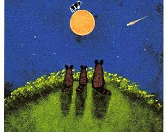Raccoon family Outsider Folk Art PRINT Todd Young painting Over the Moon