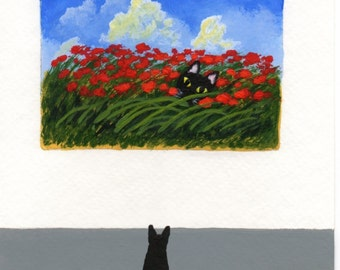 Black Cat  Modern Folk Art PRINT of a Todd Young painting At The Gallery