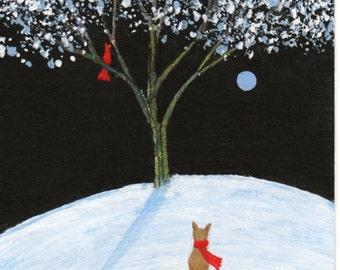 Chihuahua Dog Folk Art PRINT Todd Young painting Winter Cardinal