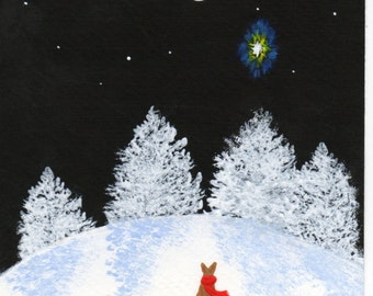 Chihuahua Dog Folk Art PRINT Todd Young painting Winter Lights