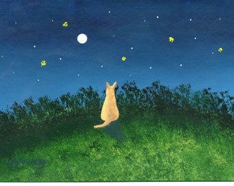 Chihuahua Dog Folk Art PRINT Todd Young painting Under the Stars