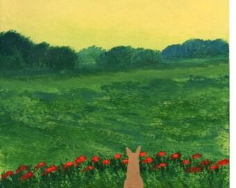 Chihuahua Dog Folk Art PRINT Todd Young painting Wild Poppies