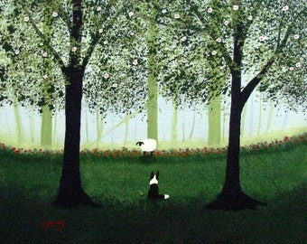 Border Collie Dog Folk art PRINT by Todd Young painting Green Forest Mist