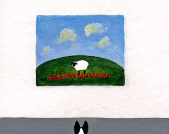 Border Collie Dog folk Art PRINT Todd Young painting At The Gallery