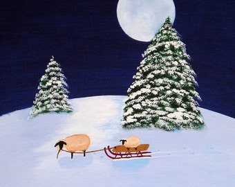Christmas sheep folk art Print by Todd Young SLED RIDE