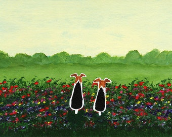 Wire Fox Terrier Dog LARGE Art PRINT Todd Young painting Monet's Garden