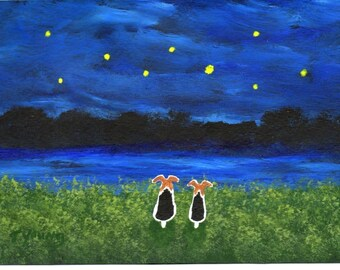 Wire Fox Terrier Dog UNDER THE STARS reproduction art print by Todd Young