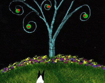 Boston Terrier Dog OLIVE TREE Limited Edition reproduction Print of Todd Young painting
