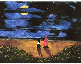 Boston Terrier Dog Art PRINT Todd Young painting SURFBOARD