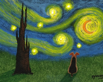 Airedale Welsh Terrier Dog UNDER A STARRY SKY reproduction art print by Todd Young