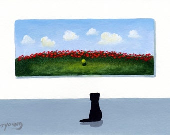 Black Lab Dog art PRINT Todd Young painting LOST BALL