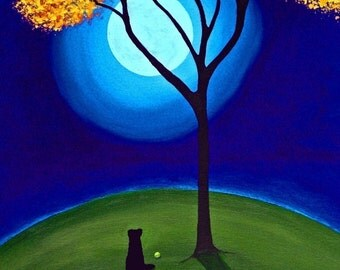October Moon Black lab dog art print by Todd Young
