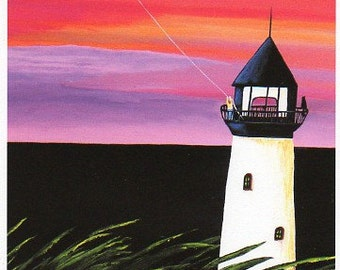 Border Collie Dog folk Art PRINT Todd Young painting Lighthouse Keeper