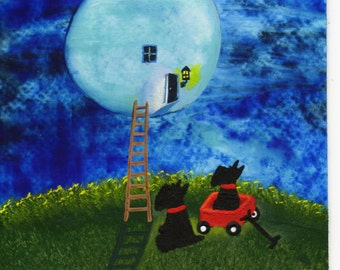 Scottie Dog Folk Art PRINT Todd Young painting Man in the Moon