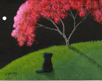 Black Lab CRABAPPLE TREE limited edition reproduction art print by Todd Young painting