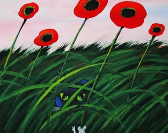 Black Cat Mouse folk art PRINT of Todd Young painting PEACE