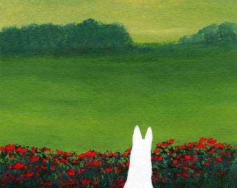 White German Shepherd Dog art PRINT Wild Poppies of Todd Young painting