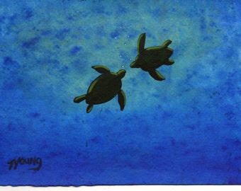 Sea Turtle ocean folk art print by Todd Young Floating